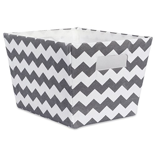 "DII Fabric Trapezoid Storage Container for Nurseries, Offices, Closets, Home Décor, Cube Organizer & Everyday Use, (Basket - 12x10x7.75"") Chevron Gray"