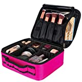 Lukovee Kosmetikkoffer Kosmetiktasche mit verstellbaren Trennern Reisetasche Makeup Tasche, Rot