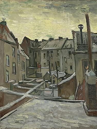 Schilderen op nummer, Van Gogh-Achtertuinen van oude huizen in Antwerpen in de sneeuw DIY Verf op nummer Kit voor volwassenen Beginner, Schilderen op nummer op canvas - 16 x 20 inch