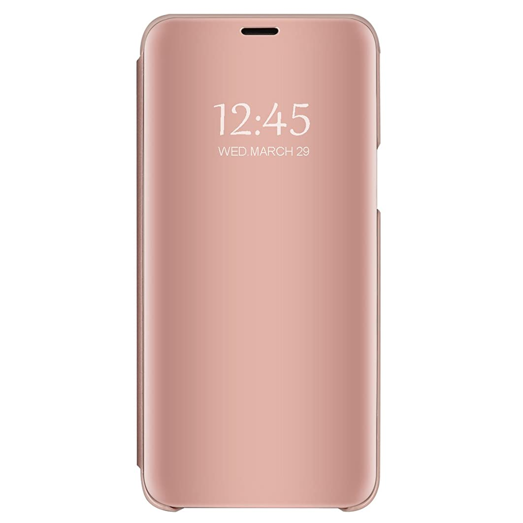 Zater Case Compatible with Xiaomi Redmi Note 7,Mirror Case Clear View 360 Full Protection Built in Kickstand Case