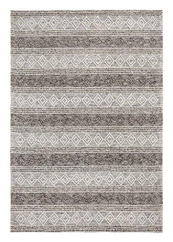 Luxor Living Handwebteppich Aalborg Wollteppich Handarbeit Unikat Ethno-Design Hygge, Farbe:Grau-Braun, Größe:160 x 230 cm