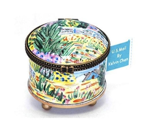 Kelvin Chen Enameled Postage Stamp Holder - Monet's Water Lily