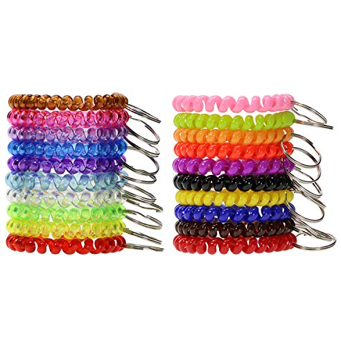 Shapenty Colored Plastic Coil Stretch Wristband Elastic Stretchable Spiral Bracelet Key Ring Chain for Gym, Pool, ID Badge and Outdoor Sports, 20PCS