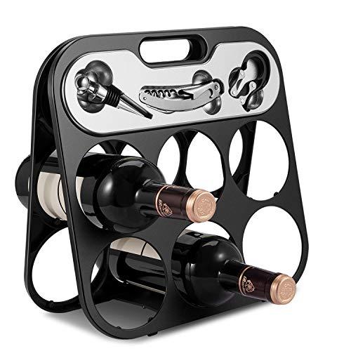 Flexzion Botellero Plegable para 6 Botellas de Vino con Set de tapón de Vino Cortador de lámina de Vino y sacacorchos Estilo Camarero para Almacenamiento de Vino en Cocina y casa