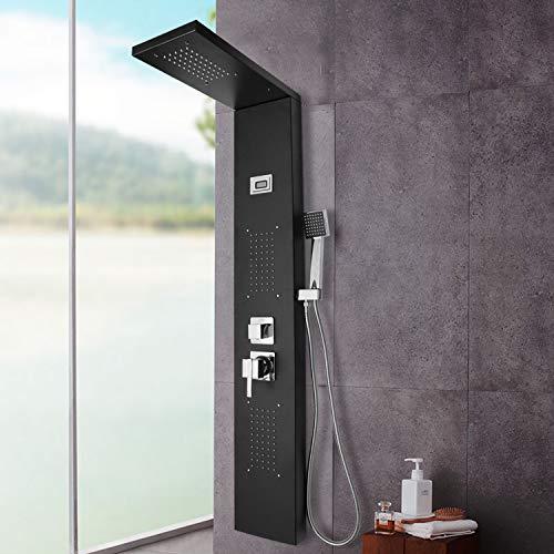 wolketon Duschpaneel Edelstahl mit Massagendüsen,Duschsysteme mit LED Temperaturanzeige,Handbrause Duschsäule Niederschlag Luxus Duschset Massagendüsen