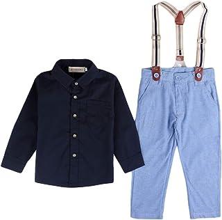 YiyiLai 男の子 フォーマル スーツ セットアップ ベビー シャツ キッズ ジーンズ 上下 2点 120