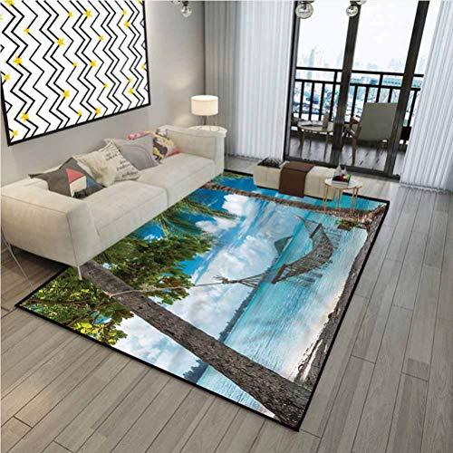 Beach Protective Cushioning Rug Pad Indoor Modern Area Rugs Palm Trees Hammock Holiday 6 x 2 ft