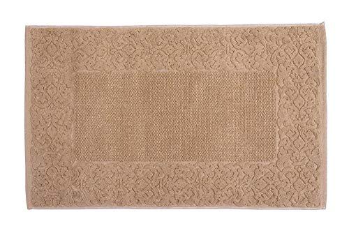 HomeLife – Alfombra de baño Rectangular de algodón [Dimensiones: 45x60] – Alfombrilla para Ducha de Calidad Fabricada en Italia y Lavable en Lavadora – Estilo clásico y decoración barroca, Beige