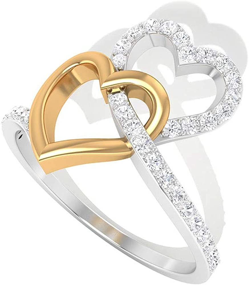 0.27 CT Pave IGI Certified Diamond Open Heart Ring, Solid 14k Mix Metal Double Heart Interlocking Anniversary Rings, Bridal Wedding Love Promise Rings, 14K Yellow Gold, Size:US 6.5