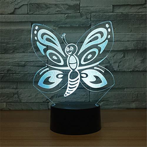 LBJZD luz de noche Encantadora Mariposa 3D Luz De Noche Control Remoto Ajustable 7 Colores Cable Usb Táctil Led Lámpara De Mesa De Escritorio Lámpara De Atmósfera Con Mando A Distancia