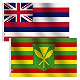 2Pack Set America State Hawaii & Kanaka Maoli Flag 3x5 Ft Large , Both Sides Banner 100D Polyester For moderate-outdoor&indoor 3  x 5  Kamehameha Hawaiian Flags
