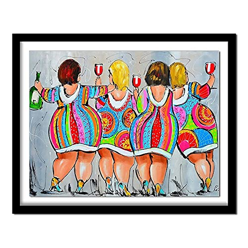ZXXGA 5D DIY Diamante Pintura Conjunto Completo de Cuatro Mujeres regordetas Diamante Pintura Rhinestone Bordado Fotos Diamantes Redondos para la decoración de la Pared del hogar 40x50cm