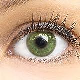 GLAMLENS Lenti a contatto colorate verdi Neapel Green - mensili - con porta lenti a contatto - verde naturali in silicone idrogel - 2 pezzi - DIA 14.0 - senza correzione 0.00 diottrie lente a contatto