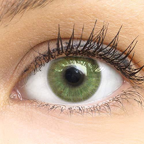 GLAMLENS Neapel Green Grün + Behälter | Sehr stark deckende natürliche grüne Kontaktlinsen farbig | farbige Monatslinsen aus Silikon Hydrogel | 1 Paar (2 Stück) | DIA 14.20 | ohne Stärke