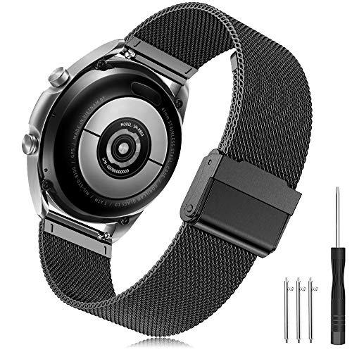Yaspark 20mm Correa Galaxy Watch 3 41mm/Galaxy Watch Active/Active2 40mm 44mm/Galaxy Watch 42mm Banda Acero Inoxidable Metal Pulsera para Huawei Watch GT 2 42mm/Gear Sport/Vivoactive 3/Forerunner 645