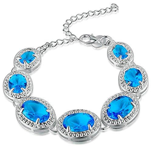 Onefeart 925 Argento Sterling Braccialetto Per le ragazze delle donne Blu Pietra di Vetro Forma Ovale Lunghezza Catena 21CM