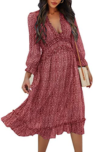 ZIYYOOHY Damen Kleid Chiffon mit V-Ausschnitt Cocktailkleid Partykleid Blusenkleid Sommerkleid (XL, 3016 Rotwein)