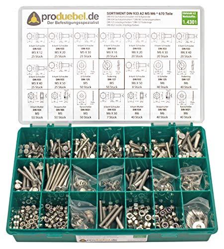 Schrauben-Sortiment DIN 933 Edelstahl A2 V2A (DIN933+934+985+125+127+9021) (M5 & M6 670 Teile)