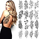 16 Sheets Sexy Temporary Tattoos Stickers Large Black Water Transfer Tattoos Stickers Women Men Long Lasting Waterproof Rose Flowers Body Decorative Tattoos Mystery Fake Tattoos for Legs Arms Back