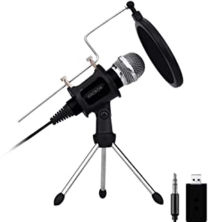 Professional Condenser Microphone, Plug &Play Home Studio microphones for Iphone Android Recording, PC, Computer, Podcasting, Mini Desktop MIC Stand dual-layer acoustic filter (M3-New)