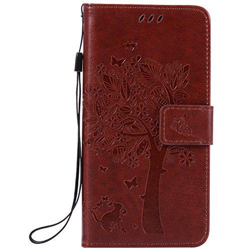 Qiaogle Telefon Case - PU Leder Wallet Schutzhülle Case für Sony Xperia Z4 / Xperia Z3 Plus / E6533 (5.2 Zoll) - KT06 / Kaffee glücks Wunsch Baum + Nette Katze
