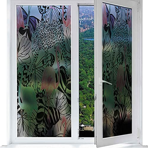 Decorative Films, All Over Pattern Bitmap Animal Botany Art Elements Insect Tropical Plants Leopard Butterfly 3D Effec, Window Sticker for Glass Door Home Office W 17.7' x L 35.4'