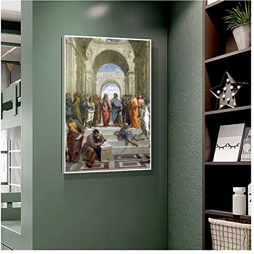 ad Poster Raffaello Tela Pittura La Scuola di Atene Immagini a Parete per Soggiorno Decorazione Classica retrò Casa Art-50x70cmx1pcs -Nessuna Cornice