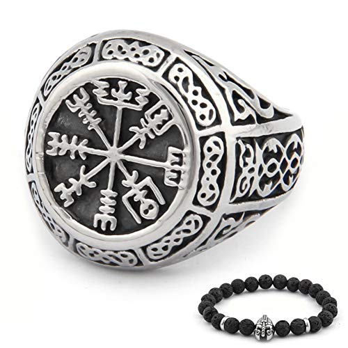 BaviPower Viking Vegvisir Nordic Compass Valknut Odin Symbol Rune Celtic Knot Stainless Steel Ring Powerful Guidance Pagan Jewelry