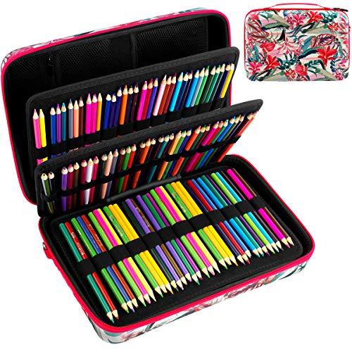 Large Pencil Storage Case - Holds 240+ Colored Pencils, Pencil Bag Compatible with Prismacolor Colored Pencils,Watercolor Pencils,Faber Castell Colored Pencils,ARTEZA Colored Pencils Set-Flower