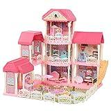 Dioche Casa de muñecas de 4 pisos, kit mini casa de muñecas DIY con accesorios y muebles, caseta para muñecas de ABS apto para niños a partir de 3 años