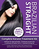 Brazilian Straight, Keratin Home Use Treatment Kit, Salon Quality Hair Straightening/Blow Dry/Smoothing, 100ml