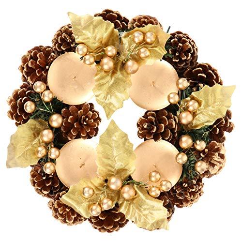 SOIMISS 22 Cm Tradicional Corona de Adviento Navideña Anillos de Velas Navideñas Corona con Frutos Rojos Y Conos de Pino Portavelas de Navidad