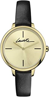 Lacoste Women's Gold Sunray Dial Black Leather Watch - 2001124