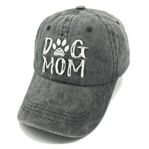 """Embroidery Design: This Premium standard lofted cap is EMBROIDERED with lettering """"Dog Mom"""" logo on the front One Size: There is a Adjustable metal buckles closure on the back. You can easy adjust to fit your head. Dimensions: Circumference 21.6""""-23...."""