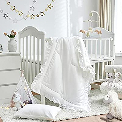 3 Pieces Crib Bedding Set Baby Ruffle Quilted Comforter with Fitted Sheet and Pillow - Cute Ruffled Shabby Chic Bedding Soft Blanket Design White