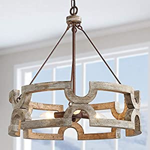 """LALUZ Farmhouse Chandelier, Wood Chandelier for Dining Room, Kitchen, Hand-Painted Finish ( W19.5"""" × L21"""")"""