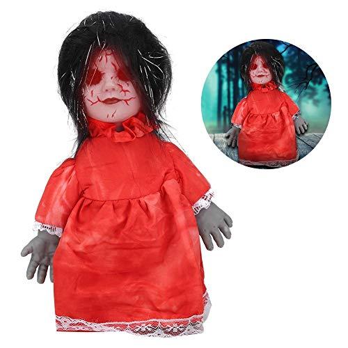 Muñeca espeluznante, muñeca que camina aterradora embrujada con pilas, control de voz vívido, fiesta de Halloween para la barra de decoración del hogar(Z113 walking ghost baby black hair red dress)