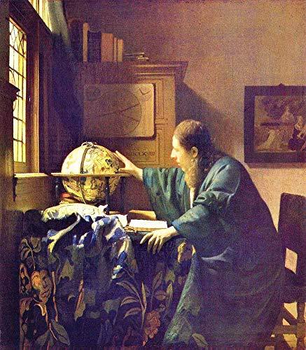 JH Lacrocon Johannes Vermeer - El Astrónomo Reproducción Cuadro sobre Lienzo Enrollado 50X60 cm - Humano Pinturas Impresións Decoración Muro