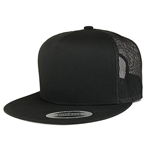 Trendy Apparel Shop Flexfit Brand 5 Panel Classic Trucker Flatbill Mesh Snapback Cap - Black