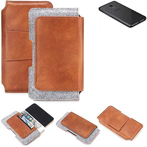 K-S-Trade® Schutz Hülle Für Meizu Pro 6S Gürteltasche Gürtel Tasche Schutzhülle Handy Smartphone Tasche Handyhülle PU + Filz, Braun (1x)