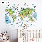 BLOUR DICOR 3 Tipos de Dibujos Animados Mapa del Mundo Pegatina de Pared Animales para habitación de niños guardería DIY Mural Creativo Impermeable calcomanía PVC Papel Tapiz Nuevo