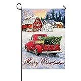 FADDA Merry Christmas Gartenflagge, doppelseitiger Druck, Jute, Winter-Weihnachtsdekoration, Logo für Garten Rasen, 31,8 x 45,7 cm Type-D
