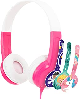 BuddyPhones - Connect On-Ear Wired Headphones - For Kids Portable Headset Volume Limiting Children Headphones - For School, Home, Travel (Pink)