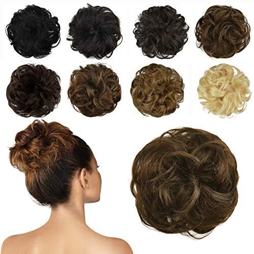 FESHFEN 100% Chignon Capelli Veri, coda capelli veri mossi ricci elastico con capelli chignon facile per capelli extension chignon da donna ragazze ci