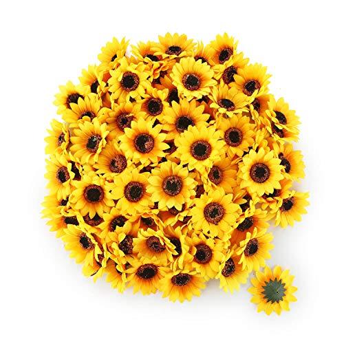 T4U Künstliche Sonnenblumen-Köpfe Chrysantheme Kunstblumen Ф7cm 100er-Set zum Basteln Hochzeit Deko