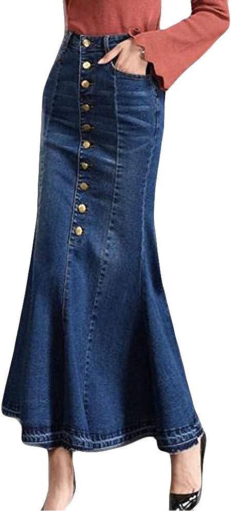 Fonma Womens Long High Waist Button Pocket Front Fishtail Denim Maxi Skirts