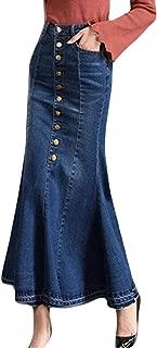 Womens Fashion Long High Waist Button Pocket Front Fishtail Denim Maxi Skirts