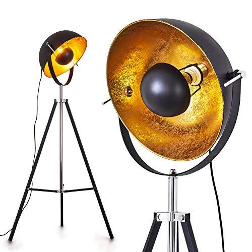 Stehlampe Jupiter, Vintage Stehleuchte in Schwarz/Gold aus Metall m. Gestell aus Metall, Ø 45cm, E27-Fassung, max. 60 Watt, verstellbare Bodenleuchte im Retro-Design, geeignet für LED Leuchtmittel