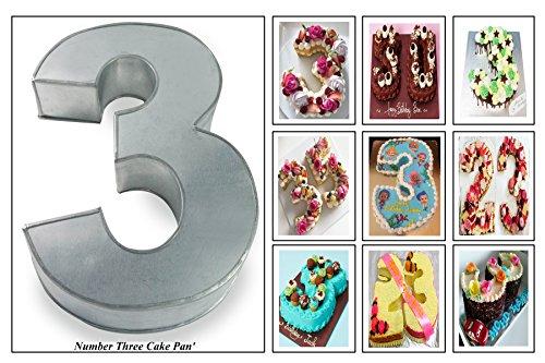 Small Number Three 3 Wedding Birthday Anniversary Cake Baking Pan / Tin 10' X 8'