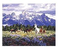 刺繍 クロスステッチ キット-山の下の馬のグループ5Dダイヤモンドアートフルドリルクリスタル刺繡クロスステッチアートリビングルームの壁の装飾のための工芸品